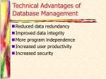 technical advantages of database management
