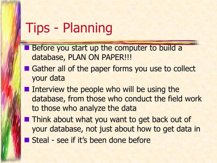 Tips - Planning