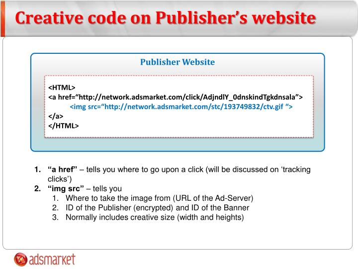 Creative code on Publisher's website