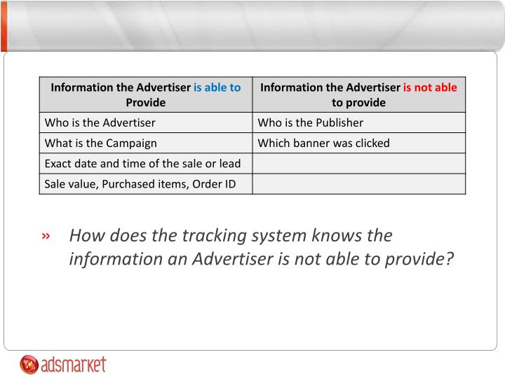 How does the tracking system knows the information an Advertiser is not able to provide?