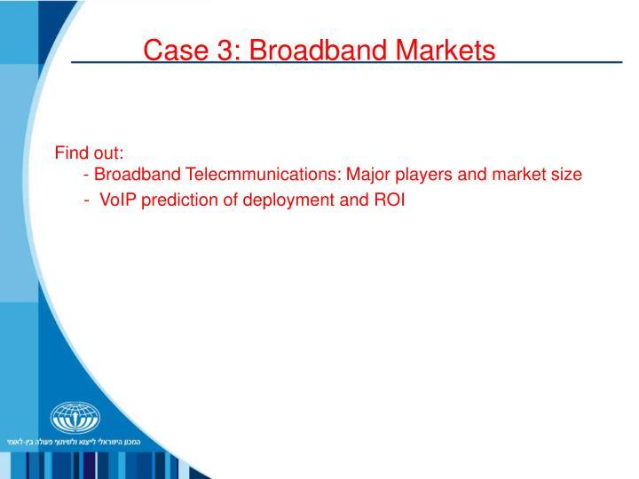 Case 3: Broadband Markets