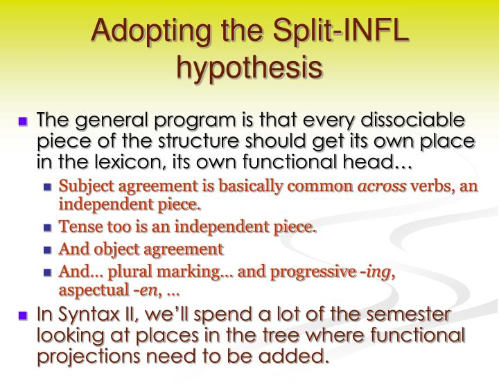 Adopting the Split-INFL hypothesis