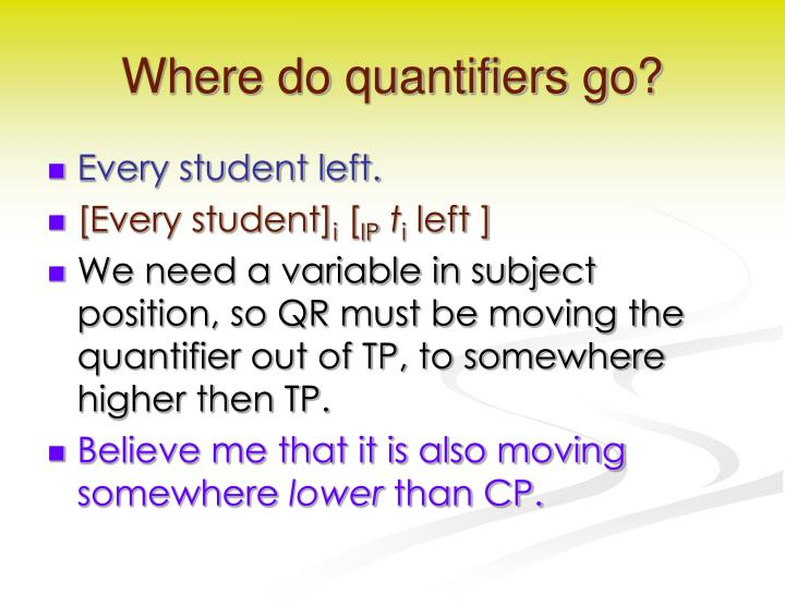 Where do quantifiers go?