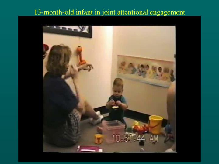 13-month-old infant in joint attentional engagement