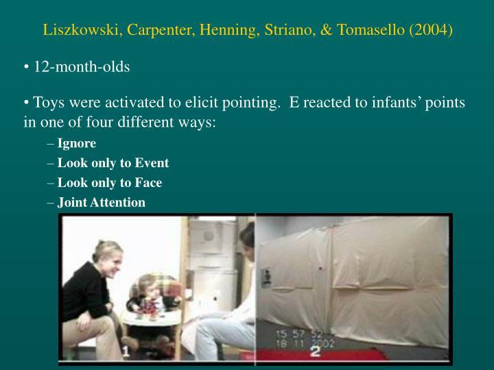 Liszkowski, Carpenter, Henning, Striano, & Tomasello (2004)