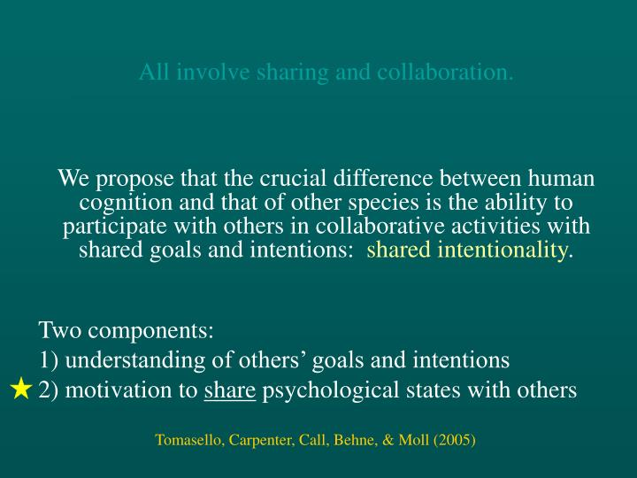 All involve sharing and collaboration.