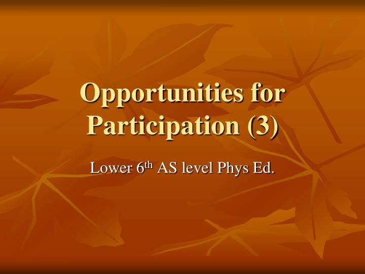 Opportunities for participation 3