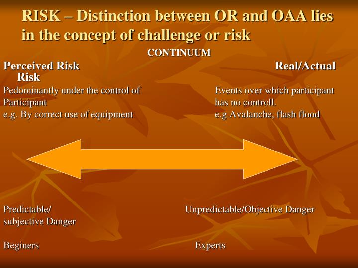 RISK – Distinction between OR and OAA lies in the concept of challenge or risk