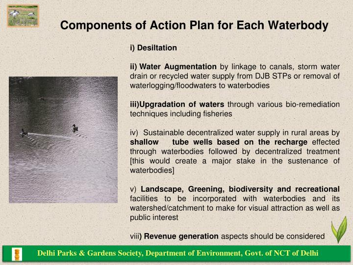 Components of Action Plan for Each Waterbody