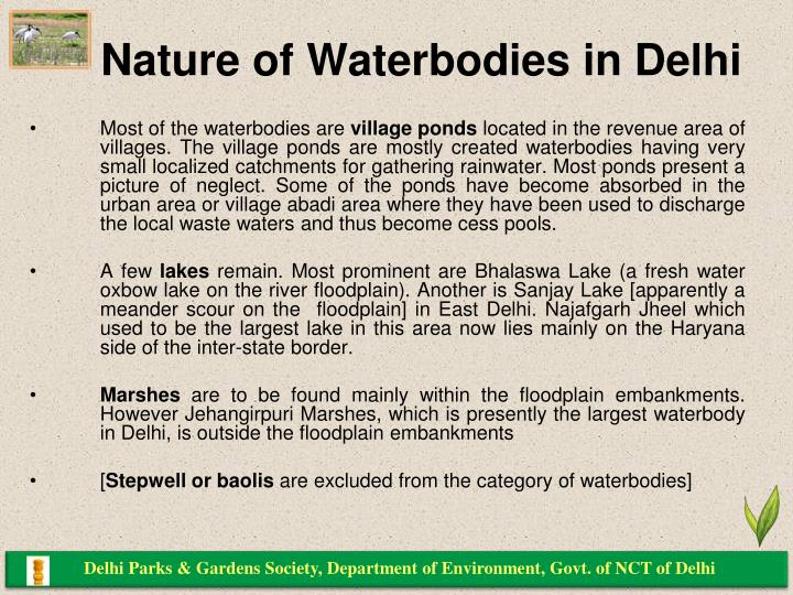 Nature of waterbodies in delhi