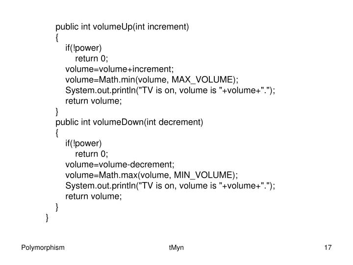 public int volumeUp(int increment)