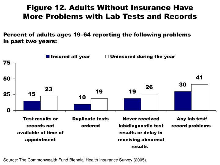 Figure 12. Adults Without Insurance Have