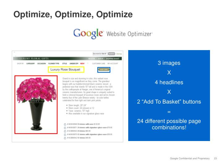 Optimize, Optimize, Optimize
