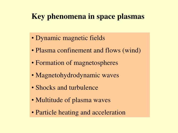Key phenomena in space plasmas