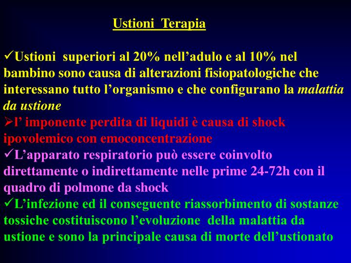 Ustioni  Terapia