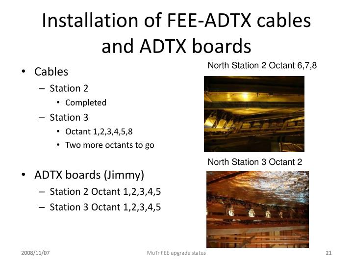 Installation of FEE-ADTX cables