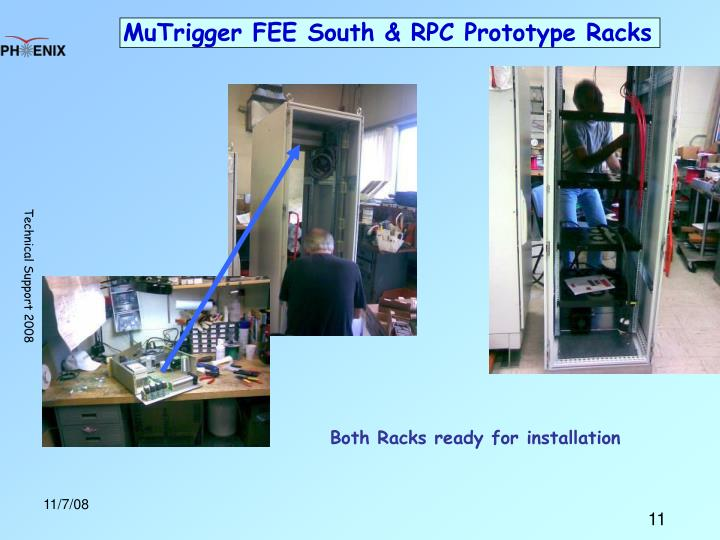 MuTrigger FEE South & RPC Prototype Racks