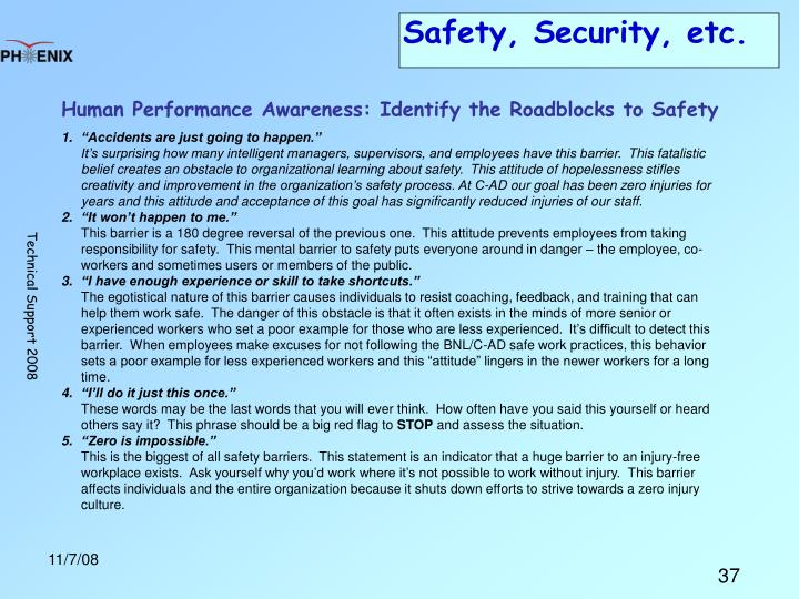 Safety, Security, etc.