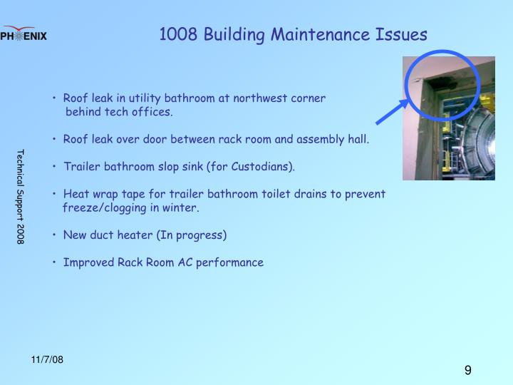 1008 Building Maintenance Issues