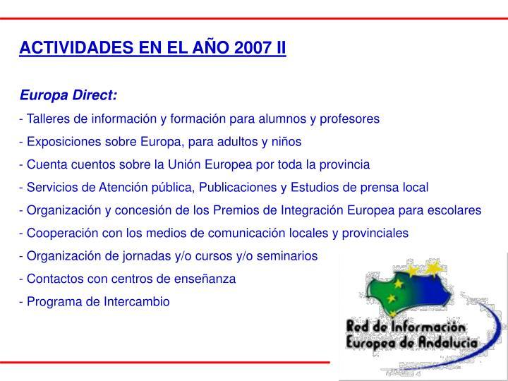 ACTIVIDADES EN EL AÑO 2007 II