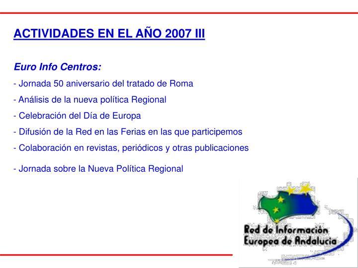 ACTIVIDADES EN EL AÑO 2007 III