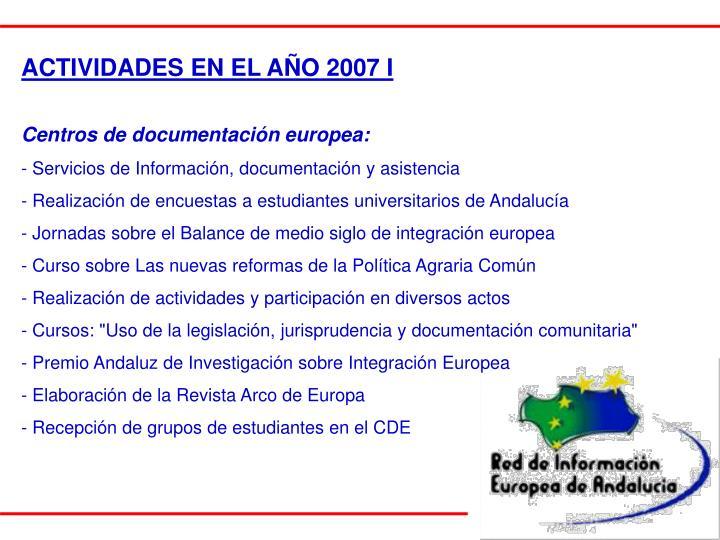 ACTIVIDADES EN EL AÑO 2007 I