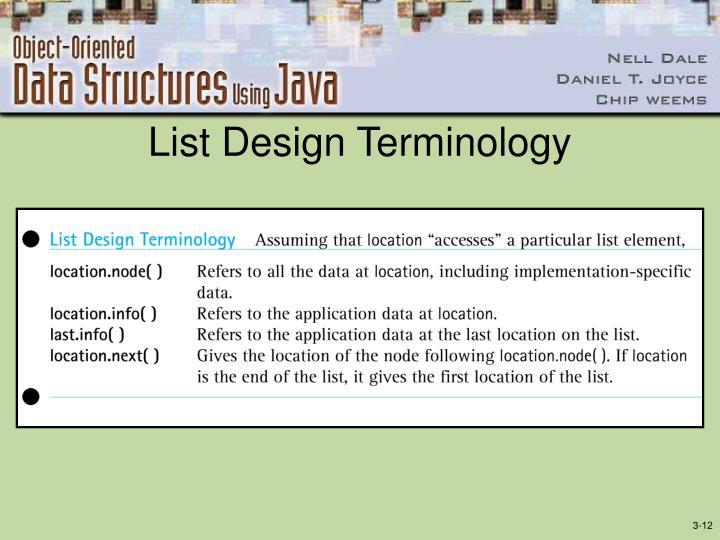 List Design Terminology