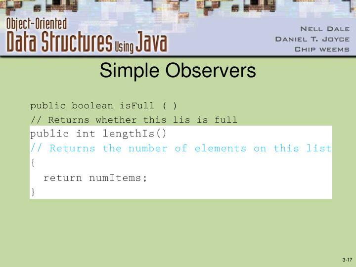 Simple Observers