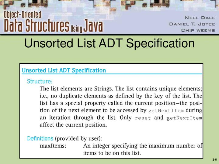 Unsorted List ADT Specification