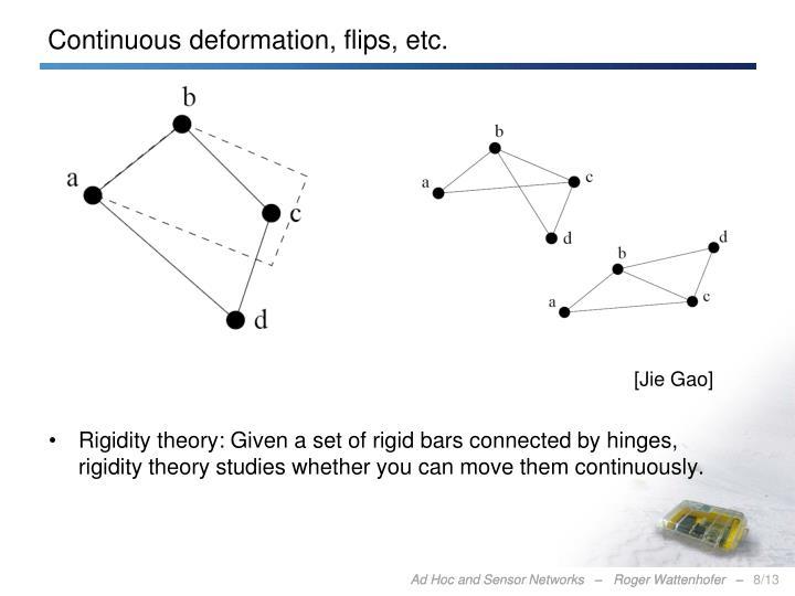 Continuous deformation, flips, etc.