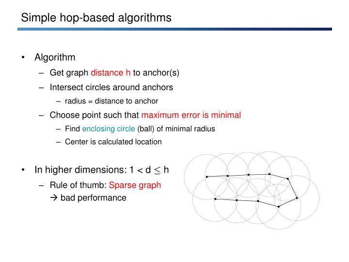 Simple hop-based algorithms