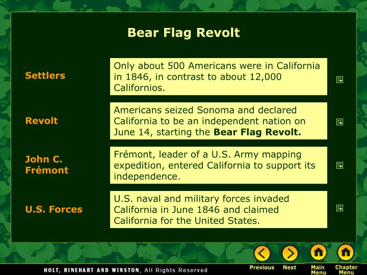 the bear flag revolt Bear flag revolt (modernized) - border, solid by devincook created 2013-03-01 description this image is a recreation of the original bear flag using the lettering, bear, and colors of the modern flag of california.