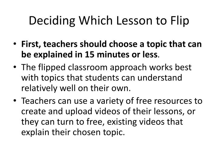 Deciding Which Lesson to Flip