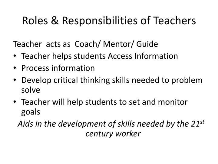 Roles & Responsibilities of Teachers