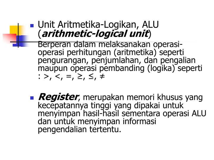 Unit Aritmetika-Logikan, ALU (