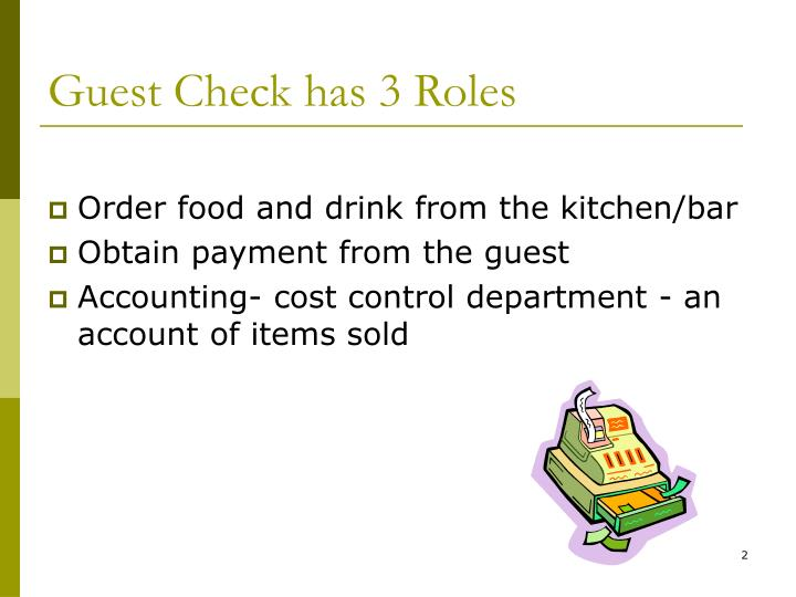 Guest Check has 3 Roles