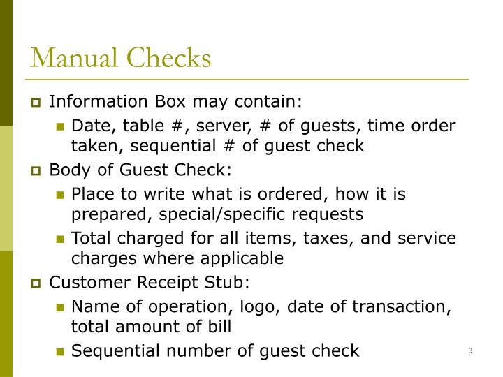 Manual Checks