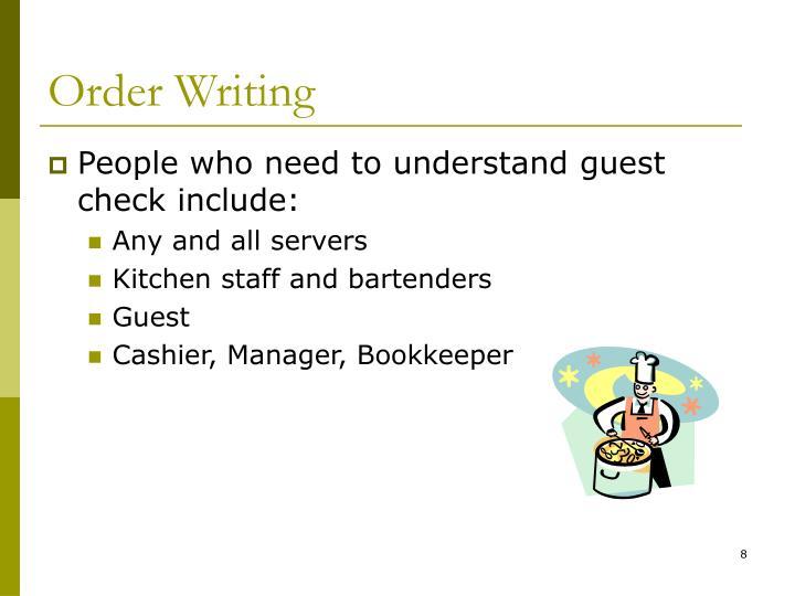 Order Writing
