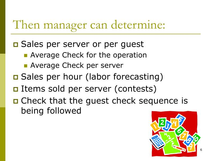 Then manager can determine: