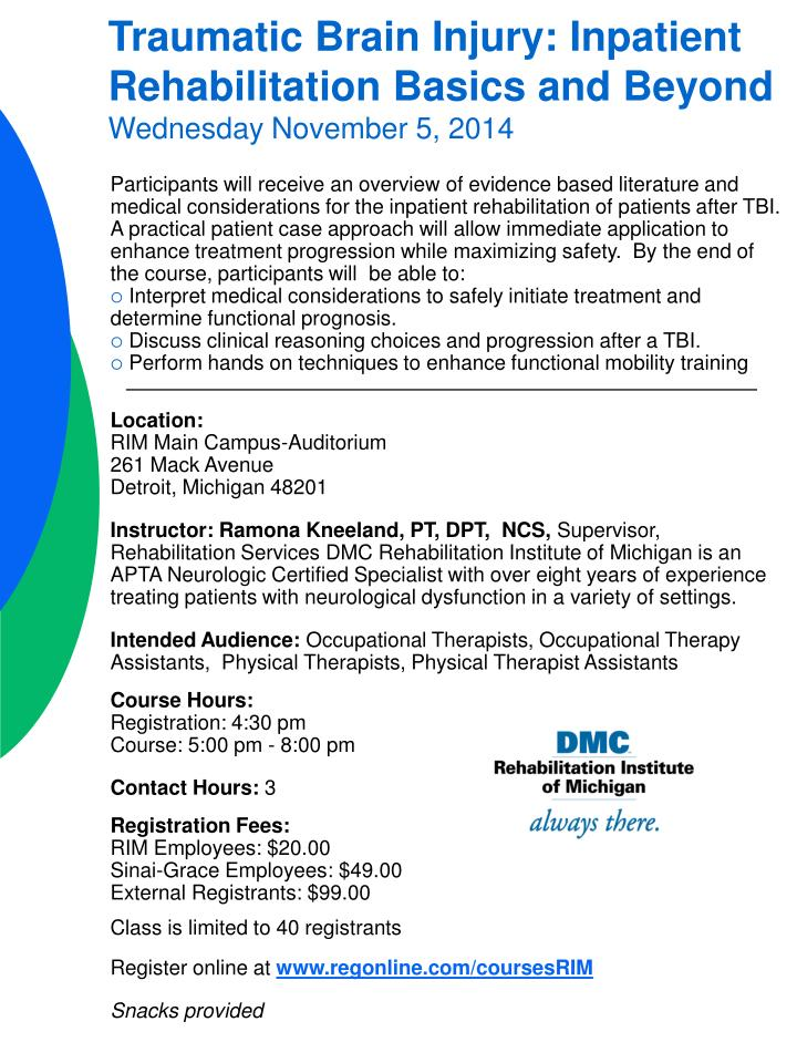 Traumatic Brain Injury: Inpatient Rehabilitation Basics and Beyond