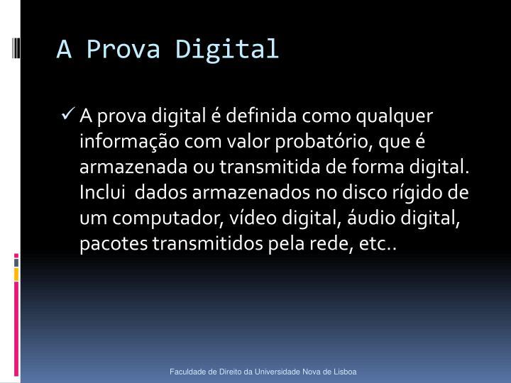 A Prova Digital