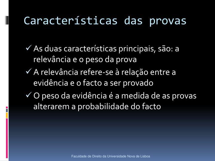 Características das provas