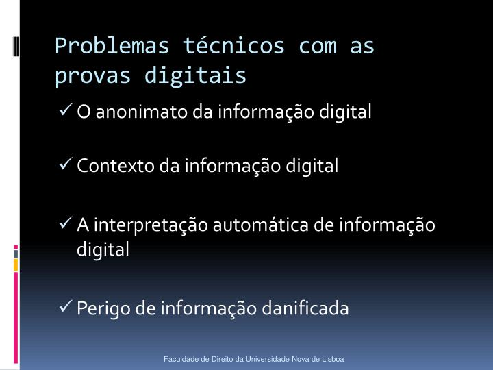 Problemas técnicos com as provas digitais