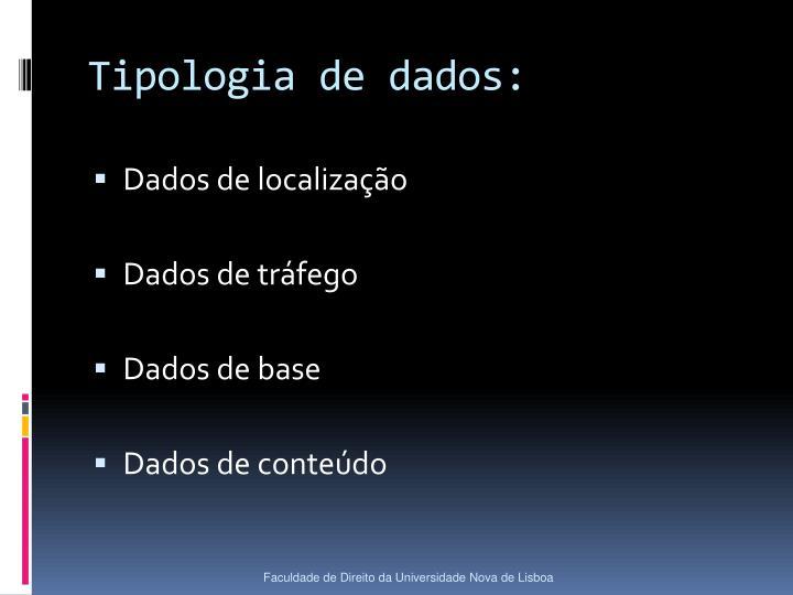 Tipologia de dados: