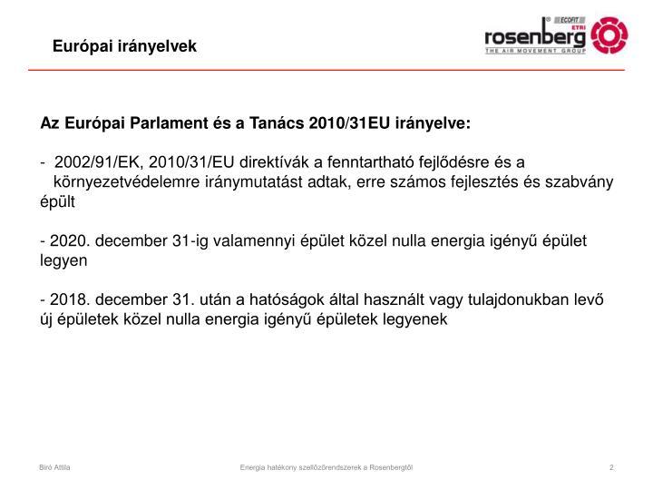 Az Európai Parlament és a Tanács 2010/31EU irányelve: