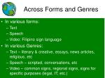 across forms and genres