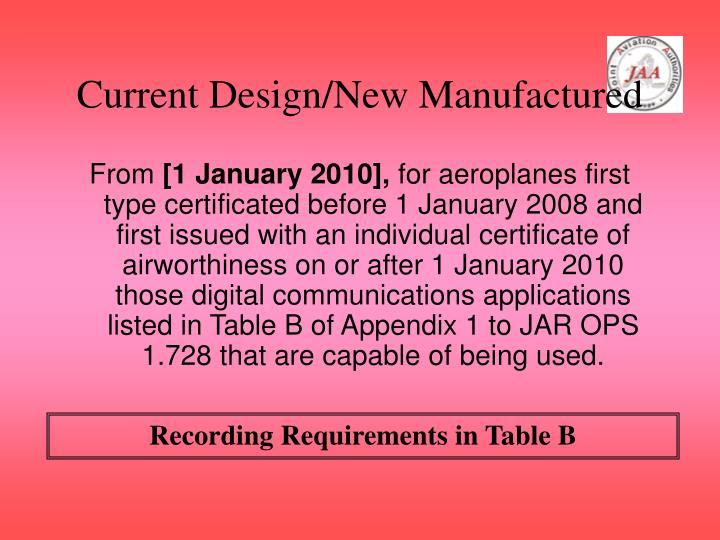 Current Design/New Manufactured