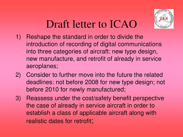 Draft letter to ICAO