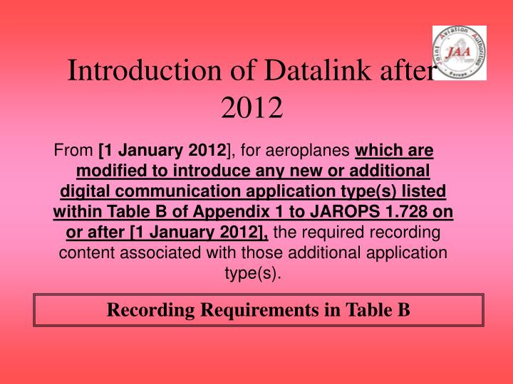Introduction of Datalink after 2012