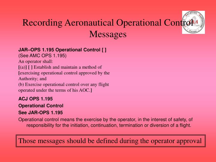 Recording Aeronautical Operational Control Messages